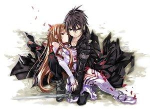 Rating: Safe Score: 312 Tags: blonde_hair brown_hair crying kirigaya_kazuto petals shino_(eefy) sword sword_art_online weapon yuuki_asuna User: HawthorneKitty