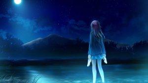 Rating: Safe Score: 140 Tags: black_hair clouds game_cg landscape moon night scenic skirt sky stars suika_niritsu water User: Maboroshi
