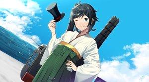 Rating: Safe Score: 26 Tags: anthropomorphism black_hair clouds green_eyes hat japanese_clothes kantai_collection matsukaze_(kancolle) sahuyaiya short_hair signed sky waifu2x water wink User: RyuZU