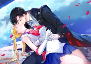 Rating: Safe Score: 30 Tags: black_hair blonde_hair cape chiba_mamoru choker elbow_gloves gin_(oyoyo) gloves kiss long_hair male planet sailor_moon sailor_moon_(character) school_uniform short_hair skirt sleeping tsukino_usagi twintails User: BattlequeenYume