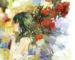 Rating: Safe Score: 116 Tags: flowers green_eyes green_hair long_hair noir_(ibaraki) saya saya_no_uta User: Flandre93
