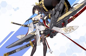 Rating: Safe Score: 92 Tags: akagi_(blue_vows) anthropomorphism black_hair blue_vows breasts cleavage criin_(659503) gloves japanese_clothes katana long_hair mechagirl pantyhose ponytail skirt sword umbrella weapon yellow_eyes User: RyuZU