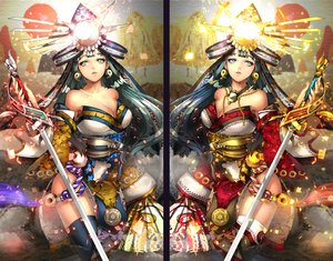 Rating: Safe Score: 56 Tags: armor blue_eyes blue_hair breasts cleavage fan green_eyes green_hair headdress japanese_clothes long_hair necklace original sword tagme_(artist) thighhighs weapon User: BattlequeenYume