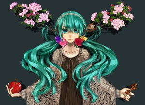Rating: Safe Score: 49 Tags: apple aqua_eyes aqua_hair cherry_blossoms flowers hatsune_miku headphones long_hair marimoris rose twintails vocaloid User: FormX