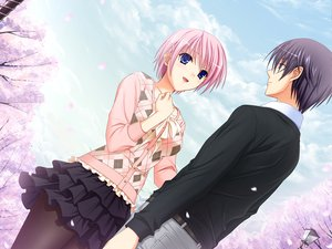 Rating: Safe Score: 42 Tags: black_hair blue_eyes clouds game_cg kisaki_mio komori_kei male mizuno_takahiro pink_hair ricotta short_hair skirt sky walkure_romanze User: Maboroshi