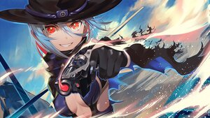 Rating: Safe Score: 44 Tags: blue_hair breasts cleavage close clouds cowgirl gloves gun hat kainownill original red_eyes short_hair weapon User: Maboroshi