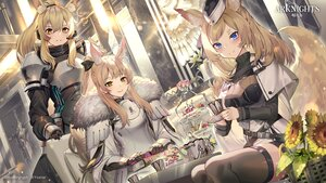 Rating: Safe Score: 34 Tags: aguy animal_ears arknights armor blemishine_(arknights) blonde_hair blue_eyes blush book drink flowers food gloves headphones logo long_hair microphone nearl_(arknights) ponytail sunflower tail thighhighs whislash_(arknights) yellow_eyes zettai_ryouiki User: Nepcoheart