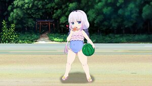 Rating: Safe Score: 25 Tags: animal aqua_eyes beach food gray_hair headband hiro_hiroki kanna_kamui kobayashi-san_chi_no_maid_dragon loli purple_hair skintight swimsuit third-party_edit User: gnarf1975
