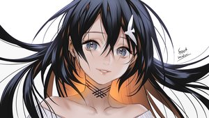Rating: Safe Score: 76 Tags: black_hair close foo_midori gray_eyes long_hair original signed white User: otaku_emmy