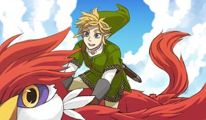 Rating: Safe Score: 2 Tags: all_male animal bird blonde_hair blue_eyes clouds gloves hat link_(zelda) loftwing male otton pointed_ears short_hair sky sword the_legend_of_zelda weapon User: otaku_emmy