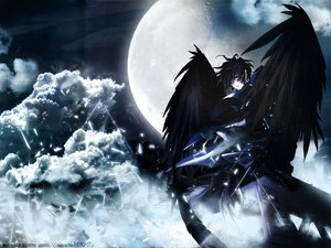Rating: Safe Score: 81 Tags: all_male black_hair clouds dark male moon night wings User: Oyashiro-sama