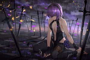 Rating: Safe Score: 101 Tags: barefoot blue_eyes breasts cleavage fate/grand_order fate_(series) gloves headband kote-sensei magic night purple_hair rain seihitsu_no_hassan sword water weapon User: FormX
