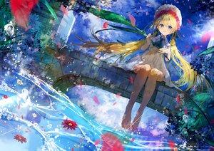 Rating: Safe Score: 42 Tags: aliasing barefoot blonde_hair clouds dress flowers hat long_hair original sky twintails umi_no_mizu water User: BattlequeenYume