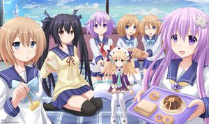 Rating: Safe Score: 141 Tags: black_hair blanc blonde_hair blue_eyes book brown_hair clouds compile_heart food group headdress histoire hyperdimension_neptunia hyperdimension_neptunia_mk2 kazenokaze long_hair nepgear neptune noire pink_hair purple_eyes ram red_eyes ribbons rom seifuku short_hair sky thighhighs twins twintails User: ANIMEHTF