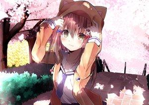 Rating: Safe Score: 42 Tags: blush brown_hair cherry_blossoms flowers hachigatsu_no_cinderella_nine hayami_rokushichi hoodie long_hair petals seifuku tie ukita_akane yellow_eyes User: RyuZU