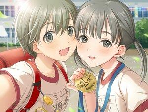 Rating: Safe Score: 48 Tags: 2girls blush gym_uniform loli original short_hair tsukana_(saba_mizore) twintails User: RyuZU