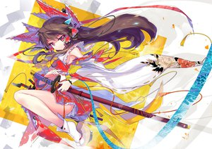 Rating: Safe Score: 128 Tags: brown_hair hakurei_reimu headphones katana long_hair red_eyes sword touhou weapon wei_(hoshieve) User: SciFi