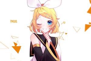 Rating: Safe Score: 37 Tags: aqua_eyes blonde_hair blush kagamine_rin patzzi short_hair signed vocaloid wink User: RyuZU
