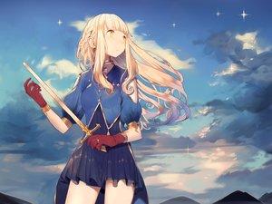 Rating: Safe Score: 132 Tags: blonde_hair dress gloves long_hair misoni_comi original sword weapon yellow_eyes User: Flandre93