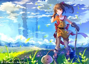 Rating: Safe Score: 61 Tags: apron boots brown_hair clouds flat_chest gloves grass loli ole_tower orange_eyes ponytail sky tagme_(artist) tagme_(character) waifu2x watermark wink User: RyuZU