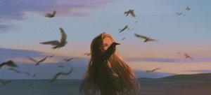 Rating: Safe Score: 57 Tags: alzi_xiaomi animal bird blonde_hair clouds long_hair nude original red_eyes scenic signed sunset User: mattiasc02
