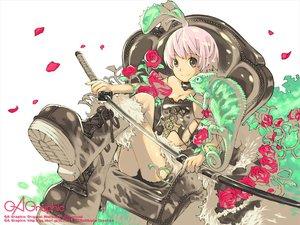 Rating: Safe Score: 33 Tags: animal boots choker flowers gagraphic haku_(sabosoda) katana logo petals pink_hair purple_eyes rose short_hair sword watermark weapon white User: Miko-chan