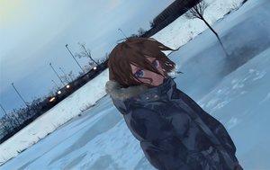 Rating: Safe Score: 25 Tags: blue_eyes brown_hair dark litra_(ltr0312) original short_hair sky snow User: RyuZU