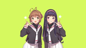 Rating: Safe Score: 38 Tags: 2girls black_hair brown_hair card_captor_sakura daidouji_tomoyo green green_eyes headband kinomoto_sakura long_hair pop_kyun purple_eyes school_uniform short_hair skirt User: RyuZU