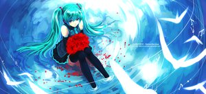 Rating: Safe Score: 81 Tags: animal aqua_eyes aqua_hair bird flowers hatsune_miku long_hair music myhilary petals skirt stockings tie twintails vocaloid water User: dryads99864