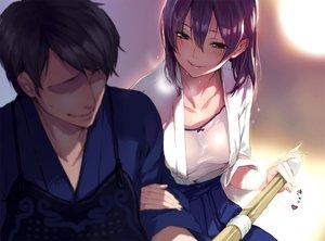 Rating: Questionable Score: 113 Tags: breasts japanese_clothes male original purple_hair sasaoka_gungu wet User: Flandre93