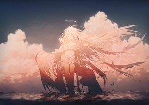 Rating: Safe Score: 267 Tags: angel clouds dress flowers halo long_hair original polychromatic rella sky water white_hair wings User: luckyluna