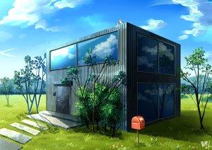 Rating: Safe Score: 21 Tags: building clouds nobody original reflection scenic signed sky tree waraimasuka User: RyuZU