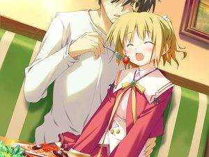 Rating: Safe Score: 3 Tags: blonde_hair blush favorite food game_cg happy_margaret! kokonoka minahase_karin school_uniform User: 秀悟