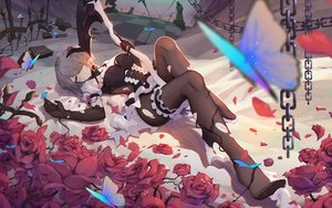 Rating: Safe Score: 96 Tags: asa_ni_haru breasts butterfly chain cleavage elbow_gloves flowers garter gloves honkai_impact pantyhose rita_rossweisse rose scythe short_hair torn_clothes weapon User: Dreista