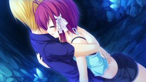 Rating: Safe Score: 24 Tags: blonde_hair bow game_cg hug justy_x_nasty kuroki_kirie mikagami_mamizu red_hair ribbons shirt short_hair shorts whirlpool User: Maboroshi