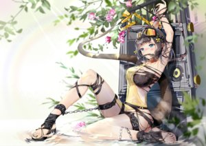 Rating: Safe Score: 118 Tags: aliasing arknights black_hair blush bodhi_wushushenghua bondage breasts chain cleavage eunectes_(arknights) flowers garter goggles tail User: BattlequeenYume