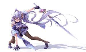 Rating: Safe Score: 91 Tags: dress genshin_impact gloves keqing_(genshin_impact) long_hair pantyhose purple_eyes purple_hair sword tenton_(henatyo) twintails weapon white User: BattlequeenYume