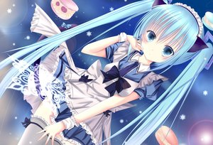 Rating: Safe Score: 118 Tags: animal_ears blue_eyes blue_hair blush bow dress hatsune_miku headdress long_hair maid qianyue_xunri thighhighs twintails vocaloid User: FormX