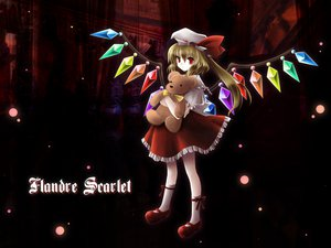 Rating: Safe Score: 34 Tags: blonde_hair dark flandre_scarlet hat kneehighs ponytail red red_eyes ribbons skirt teddy_bear touhou wings User: Anavrin