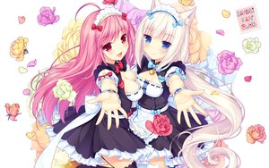 Rating: Safe Score: 108 Tags: 2girls animal_ears apron bell blush bow breasts catgirl flowers garter_belt headdress lily_index long_hair maid nekopara petals pink_hair red_eyes sayori thighhighs vanilla_(sayori) watermark wristwear User: RyuZU