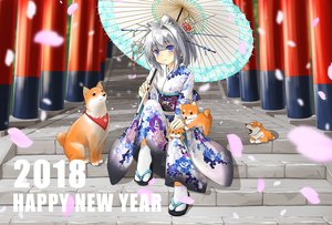 Rating: Safe Score: 19 Tags: animal blue_eyes dog flowers gray_hair japanese_clothes kaeru_neko kimono original petals short_hair socks stairs torii umbrella User: RyuZU