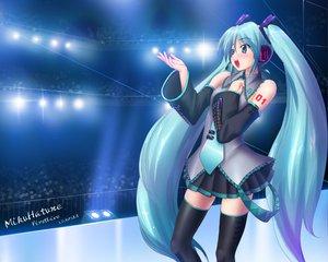 Rating: Safe Score: 33 Tags: blue_hair hatsune_miku long_hair twintails vocaloid zettai_ryouiki User: Eruku