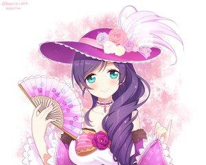 Rating: Safe Score: 45 Tags: aqua_eyes blush bow choker fan flowers hat long_hair love_live!_school_idol_project moorina necklace purple_hair rose toujou_nozomi User: otaku_emmy