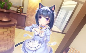 Rating: Safe Score: 57 Tags: animal_ears black_hair bow catgirl game_cg headband loli maid minazuki_shigure nekopara neko_works purple_eyes sayori short_hair tail waitress User: BattlequeenYume