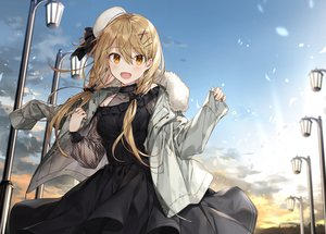 Rating: Safe Score: 67 Tags: blonde_hair bow clouds dress hat long_hair orange_eyes original shirako_miso sky sunset twintails User: otaku_emmy