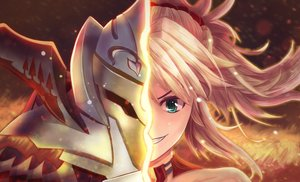 Rating: Safe Score: 12 Tags: armor blonde_hair close fate/apocrypha fate/grand_order fate_(series) green_eyes long_hair mordred ponytail red_eyes tagme_(artist) User: BattlequeenYume