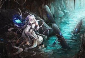 Rating: Safe Score: 138 Tags: anthropomorphism blindfold dress kajaneko kantai_collection submarine_hime water white_hair User: Flandre93