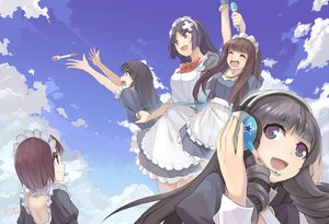 Rating: Safe Score: 70 Tags: black_hair bow brown_eyes brown_hair clouds dress group headdress headphones long_hair maid microphone original short_hair signed sky x-boy User: luckyluna