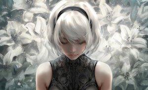 Rating: Safe Score: 132 Tags: close flowers headband nier:_automata nixeu polychromatic realistic short_hair white_hair yorha_unit_no._2_type_b User: BattlequeenYume