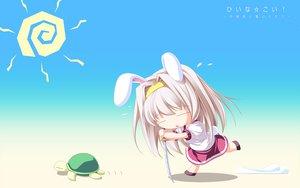 Rating: Safe Score: 45 Tags: animal animal_ears bunny_ears bunnygirl chibi inakoi katana kuujou_hina sword turtle weapon whirlpool User: 秀悟